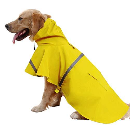 Ducomi Neon - Impermeabile Cane Taglia Piccola, Media e Grande - Mantella Pioggia per Cani con Chiusura Velcro e Tasca - Cappotto con Fascia Riflettente e Cappuccio Regolabile (Neon Yellow, L)