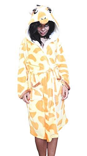Inception Pro Infinite - Größe L - Giraffe - Morgenmantel - für Schlafzimmer - Nacht - Bademantel - Pyjama - Mann - Frau - Unisex - weiches Fleece - mit Kapuze und Gürtel - Zeichen