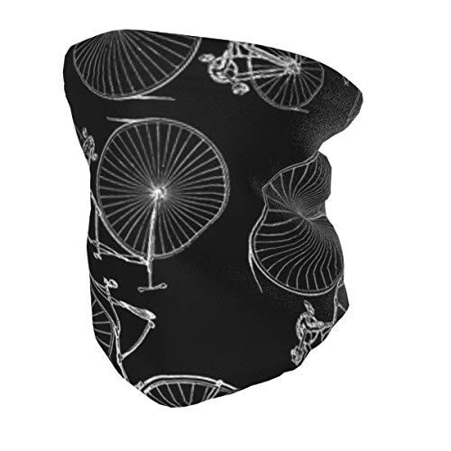 Bandana protectora para el cuello con protección UV para niños, antiguas bicicletas Velocipede con fondo negro, lavable, reutilizable, pasamontañas para pesca, senderismo