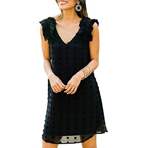 AMABILEMIA Vestito Corto Elegante Donna Mini Abito Sexy Cerimonia Estivo Senza Maniche Scollo a V Vestitino da Sera Nero Casual DS224027 (Nero, l)