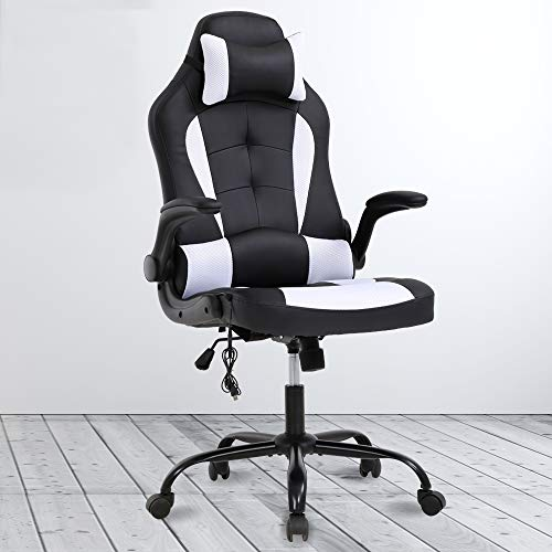 PC Gaming Chair Ergonomic Office Chair High Back Desk Chair Racing Executive PU Leather Computer Chair with Headrest Armrest Task Rolling Swivel Height Adjustable Chair for Women Adults, White chair gaming