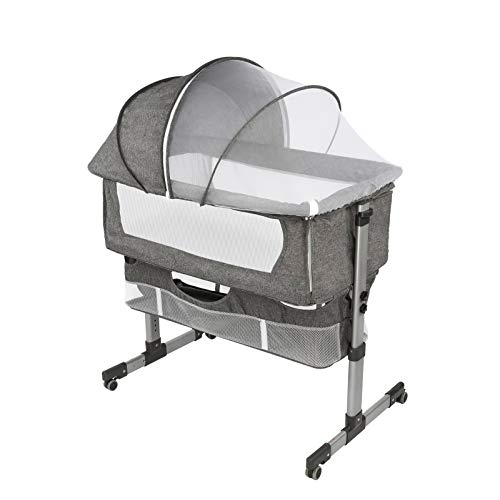 Bedside Sleeper Bedside Crib, Baby Bassinet 3 in 1 Travel Baby Crib Easy Folding Portable Crib with Storage Basket for Newborn with Breathable Net, Comfy Mattress,Gray