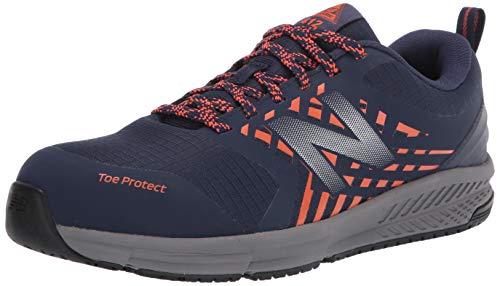 New Balance Men's Slip-Resistant 412 V1 Alloy Toe Industrial Shoe, Team Navy/Team Orange, 10 X-Wide