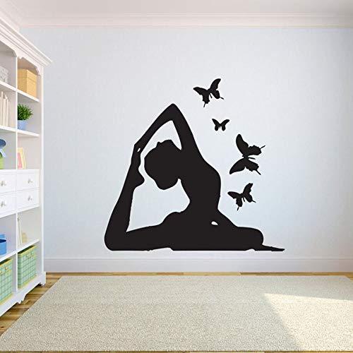 Yoga girl mariposa tatuajes de pared dormitorio gimnasio yoga habitación vinilo etiqueta de la pared decoración de interiores hermosa bodybuilding girl decal