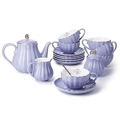 Amazingware Porcelain Tea Set - Tea Cup and Saucer Set Service for 6, with 28 ounces Teapot Sugar Bowl Cream Pitcher Teaspoons and Tea Strainer - for Thanksgiving - Pumpkin Fluted Shape, Purple