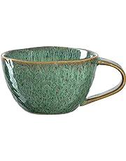 Leonardo Matera kaffekoppar set om 4, diskmaskinssäker keramisk kopp, 4 mikrovågsugnssäkra muggar, lergods koppar, grön 290 ml, 018589