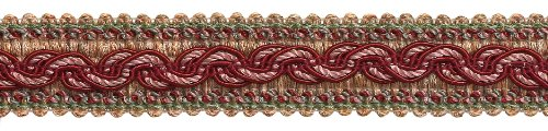 8.2 Meter Value Pack - RED, LIGHT ROSE Baroque Collection Gimp Braid 32mm Style# 0125BG Color: ROSE BOUQUET - 7953 (27 Ft / 8.2 Meters)