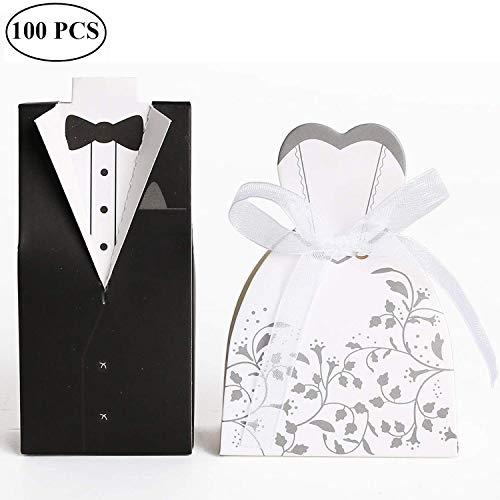 Süßigkeiten Schachtel Hochzeitskasten Bonbons Schachtel für Hochzeit, (50 Paar) Hochzeit Brautkleid Entwurf Brautpaar Gastgeschenk