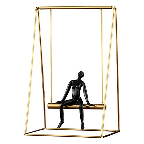 Escultura Moderna Minimalismo Hombre Sentado En Un Objeto Decoración Columpio Diseño Oro Negro Figuras Arte Abstracto Decoración La Estatua Sala Estar Interieur,19 * 14 * 29cm