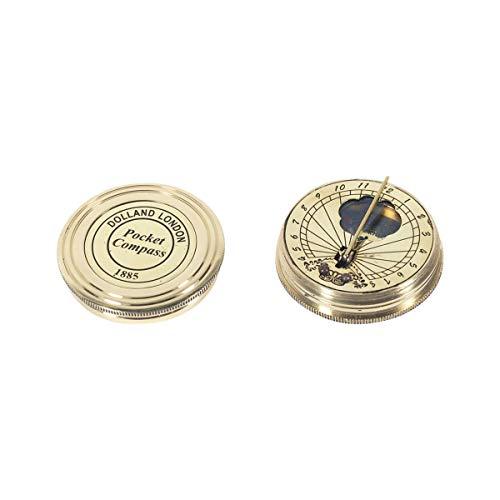 Vidal Regalos Reloj Solar con Brujula de Bolsillo Laton Dorado 5 cm
