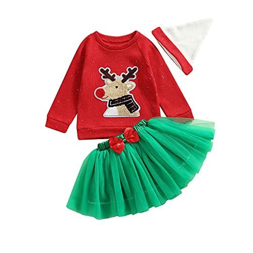3PCS Toddler Baby Girls Christmas Clothes Set Cartoon Elk/Santa Print Pullover Tops+Solid Skirt+Hat Infant Clothing (Elk,2-3T)