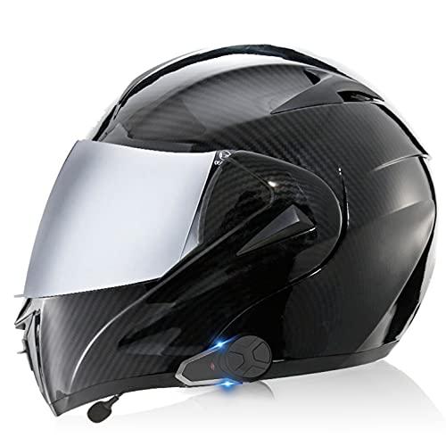 Bluetooth Casco De Moto Modular con walkie-Talkie Doble Visera Cascos Integrales De Moto oto para Mujer e Hombre Bluetooth Integrado Modular Casco Moto Integral W,S