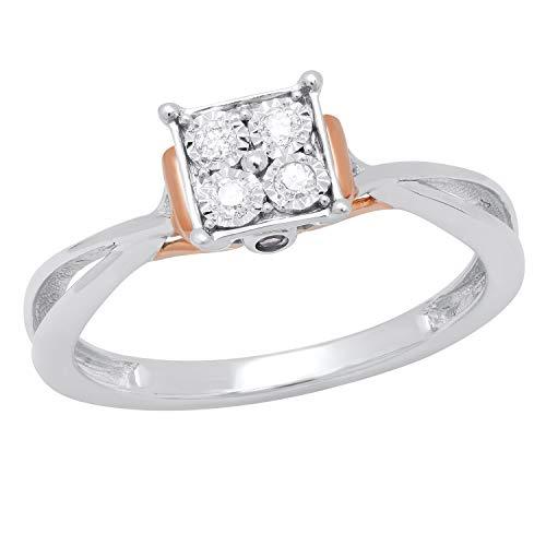 Dazzlingrock Collection Anillo de compromiso redondo de amatista y diamante blanco dividido vástago ilusión conjunto de anillo de compromiso, plata de ley chapada en oro rosa