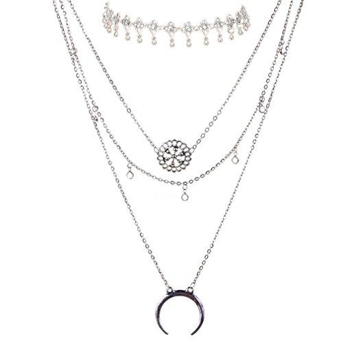 YAZILIND Mujeres Idea Collar de Plata de múltiples Capas del Collar Largo Pendiente Collares Conjunto Regalo de la joyería