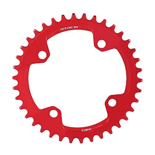 Piezas de reparación de Anillo de Cadena de manivela única de Acero para Bicicleta de montaña 32/34/36/38T BCD 104(38T-Rojo)