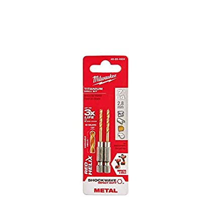 """Milwaukee SHOCKWAVE RED HELIX 1/4 Hex Shank Impact Drill Bits 7/64"""" Pack of 2"""