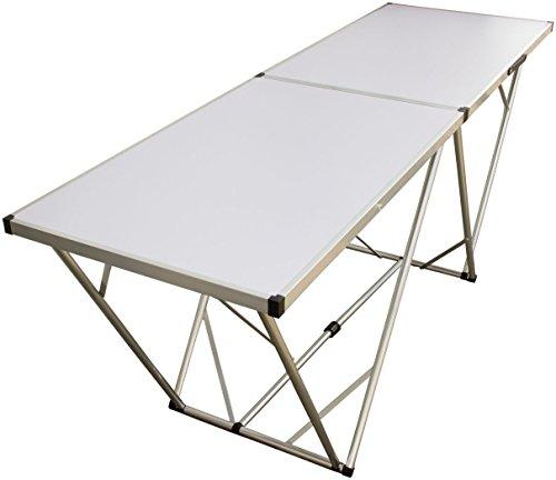 Mehrzwecktisch 200x60 cm, weiß, Aluminium-Rahmen, Partytisch, Flohmarkttisch, Tapeziertisch