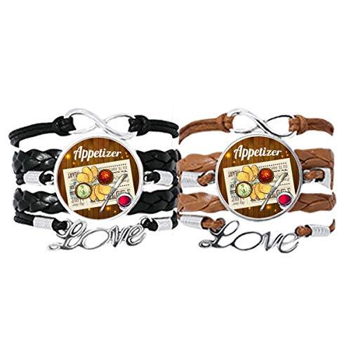 DIYthinker Armband für Vorspeisen, Brot, Wein, Lederband, Doppelset, Geschenk