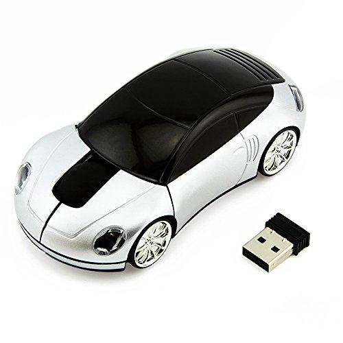 Cool Sport Car Shape Mouse 2.4GHz Wireless Car Mouse Mini Small Optical Gaming Mice Office Mice with USB Receiver for PC Laptop Computer for Kids Girls Adults 1600DPI 3 Button Silver