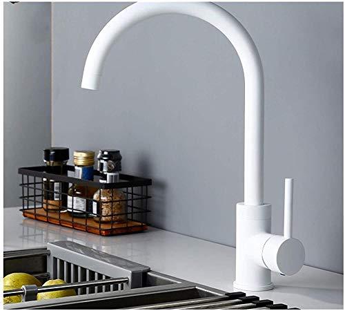 Instalación de lavabo de encimera de un solo orificio de una manija de latón blanco Grifo de fregadero de cocina de agua fría y caliente
