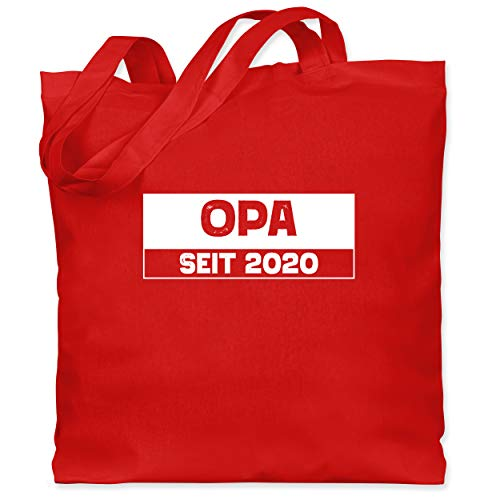 Shirtracer Opa - Opa seit 2020 weiß - Unisize - Rot - Geschenk - WM101 - Stoffbeutel aus Baumwolle Jutebeutel lange Henkel