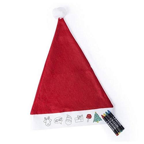 Eurroweb Weihnachtsmütze zum Ausmalen mit Buntstiften – Kostüm Farbe – Rot