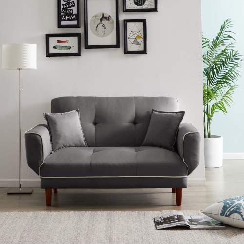 Relex Lounge Sofa Bed with 2 Pillows Twin Size Sleeper Sofa Futon Couch, Recliner Couch with Adjustable Armrest and Wood Legs (Grey)