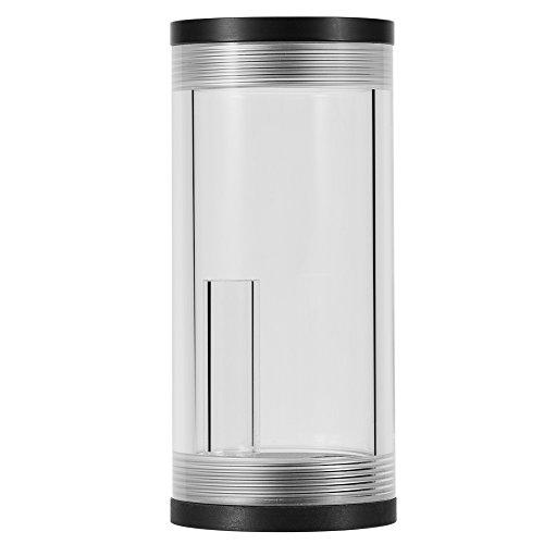 Richer-R Tanque de Agua de Acrílico Cilindro, Kit de Reservorio de Refrigeración por Agua, Radiador para CPU PC(Depósito de Agua Principal+Soportes de Plástico/Metal Tipo L+ Tornillos),Transparente