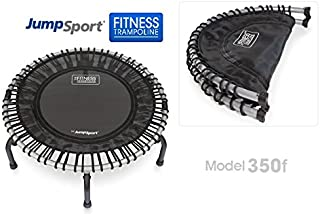 JumpSport 350F | Folding Fitness Trampoline | Easy Storage | No-Tip Arched Legs | Safe & Stable Bounce | Top Rated for Quality & Durability | Includes 4 Music Workout Videos On 1 DVD