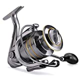 Fishing Reel Spinning, Ultralight Smooth, Catfish Spinning Reel with 14+1 BB, 41lb Max Drag, Strong Aluminum Alloy Frame, Brass Main Shaft, Freshwater Spinning Reel for Fishing Bass (6000)
