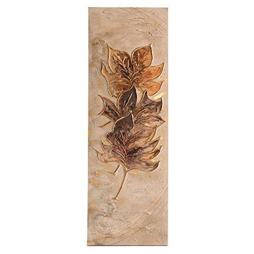 Lohoart L-1141 - Cuadro Artesanal en Lienzo Pintado a Mano, decoración hogar Cuadro Pared, Color Oro, Medidas: 150 X 50 cm