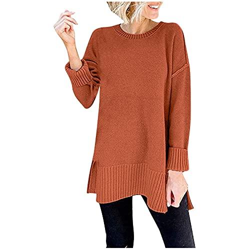 Shopler Suéteres largos para las mujeres de la moda de manga larga cuello redondo color sólido jumpers casual túnica Tops para otoño invierno, naranja, XXL