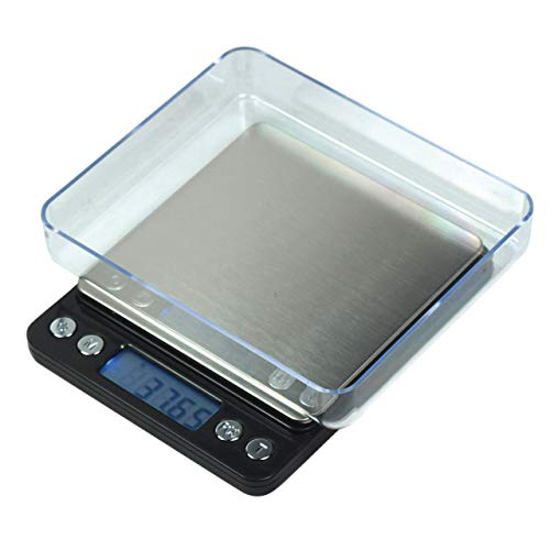 Horizon High Precision Professional Grade Small Mini Pocket Digital Scale with Trays LCD Display Ready to Go Sleek Design 500g by 001g Great 4 Measuring Food Herbs Spices Coin or Whatever