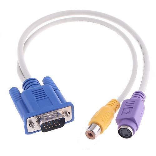 Tarjeta de vídeo VGA a S-Video y Cable Adaptador de Pantalla de TV RCA Durable