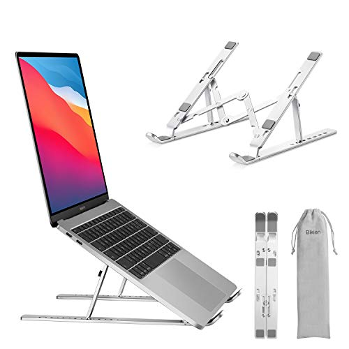 Mercase Portable Laptop Stand,Foldable Adjustable Cooling Desktop Laptop Holder, Portable Lightweight Aluminum Laptop Riser for MacBook Air, Macbook Pro, HP, Dell, Lenovo More (Up to 15.6 inch)Silver