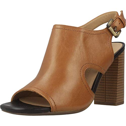 Geox Damen D AUDALIES HIGH Sandalo B Peeptoe Sandalen, Beige (Caramel), 36 EU