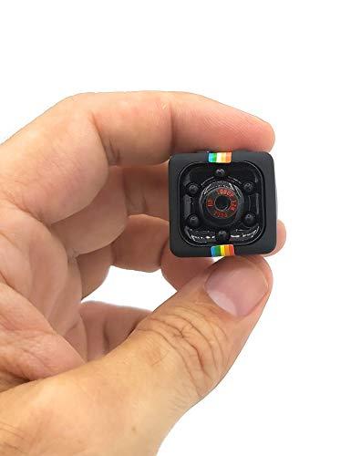 Mini cámara espía Oculta sq11 Full HD 1080P con Detector de Movimiento y Visión Nocturna IR. Muy pequeña. Ideal como cámara de acción y Drone. Interior y Exterior. Mini cámara de Seguridad.
