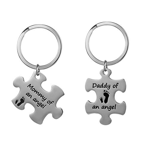 FENICAL Keychain Mommy Daddy of an Angel Keyring Set Miscarriage Keepsake Baby Memorial Gift, Silver, 4x3x0.5cm