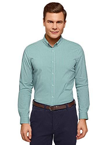 oodji Ultra Hombre Camisa Extra Slim a Cuadros Pequeños, Verde, сm 41 / ES 41 / M