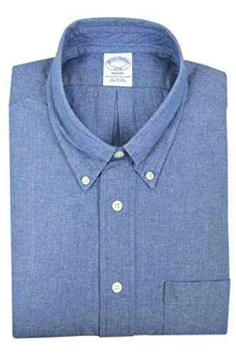 Brooks Brothers Mens Regent Fit 74804 Contrast Collar The Original Polo Button Down Shirt Navy Blue White Plaid (M)