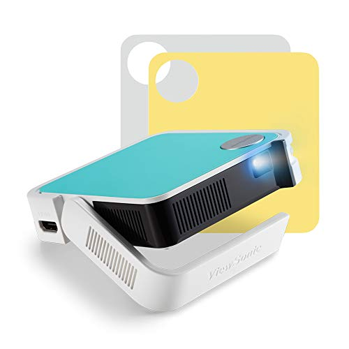 ViewSonic M1 mini Plus Pocket LED Ultra-Portable Projector with integrated JBL Speakers, Wi-Fi, Bluetooth, WVGA, 120 Lumens, HDMI, USB, Compatible with TV Sticks & Gaming Consoles, in 3 Colours