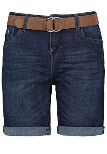 Sublevel Damen Jeans Bermuda-Shorts mit Veloursleder Gürtel Dark-Blue S