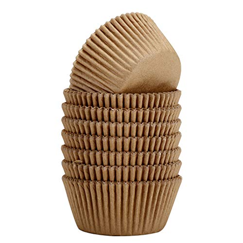Vibrille Standard Cupcake Liners Natural Greaseproof Paper Baking Cups, Pack of 400