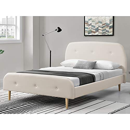 Corium Kunstlederbett 160x200 cm Polsterbett Doppelbett Jugendbett Bettgestell mit Kopf-und Fußteil mit Lattenrost Kunstleder Weiß