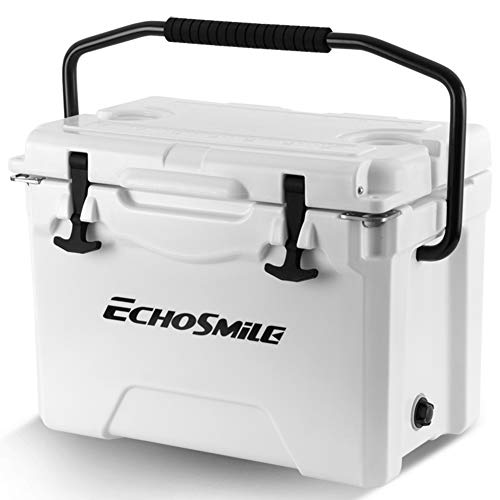 EchoSmile 25 Quart White Rotomolded Cooler, Portable Ice Chest Cooler with...
