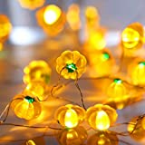 Halloween Pumpkin String Lights, 10ft 30 LED Battery Powered Lights with 8 Flicker Modes Remote Control for Halloween, Thanksgiving and DIY Home Mantel Decoration