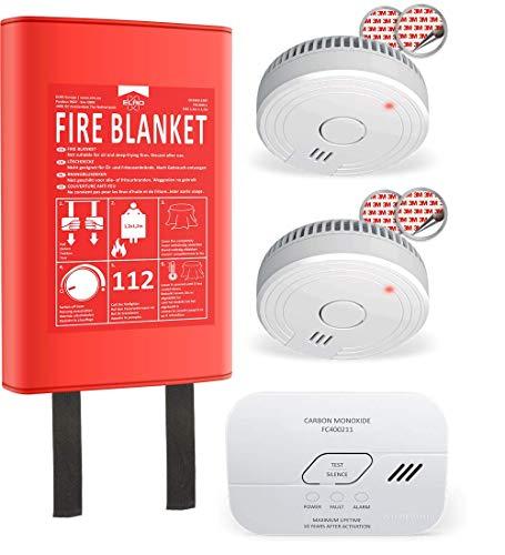 ELRO FF0404 Brandschutz-Kit-2x Rauchmelder-CO-Melder mit 10 Jahre Sensor-Feuerlöschdecke Hardcover x 1.2m Kombi-Paket