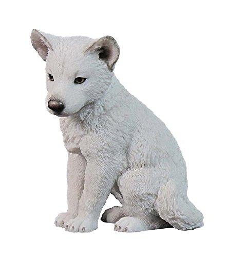 Vogler Polarwolf Welpe sitzend Figur Deko Dekoration Wolf Tierfigur Skulptur