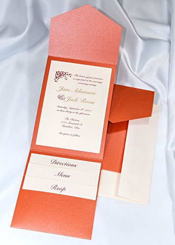 All-in-One Pocket Invitation Kit - Flame Shimmer Elegance - Pack of 20