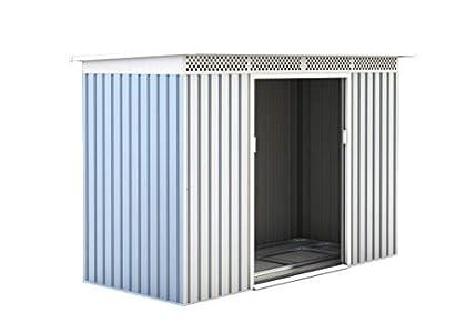 GARDIUN KIS12135 - Caseta Metálica Rutland 3,93 m² Exterior 142x277x184 cm Acero Galvanizado Silver/Blanco